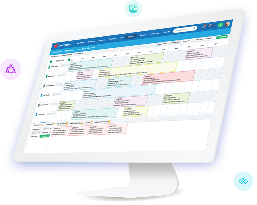 Field Service Management Software Dispatch View
